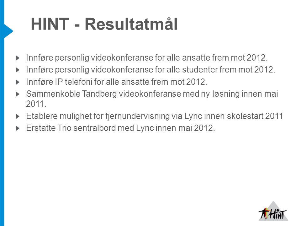 HINT - Resultatmål Innføre personlig videokonferanse for alle ansatte frem mot 2012.