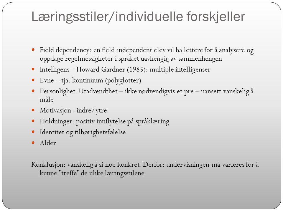 Læringsstiler/individuelle forskjeller