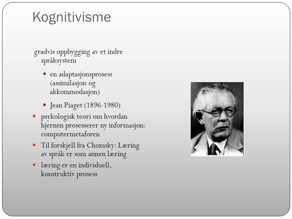 Kognitivisme gradvis oppbygging av et indre språksystem
