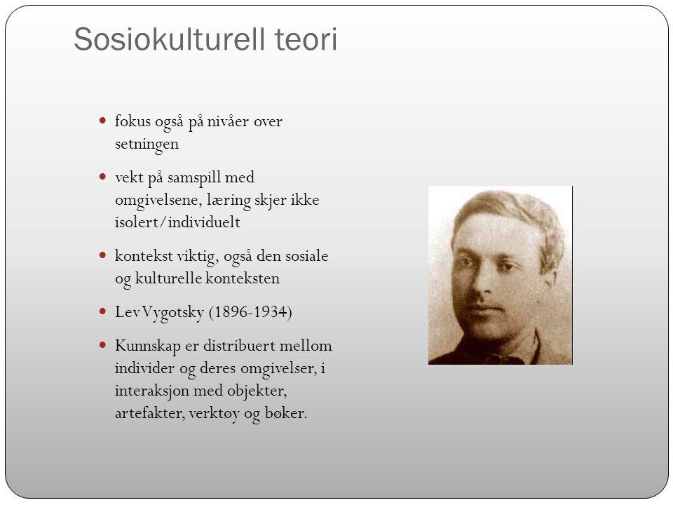 Sosiokulturell teori fokus også på nivåer over setningen