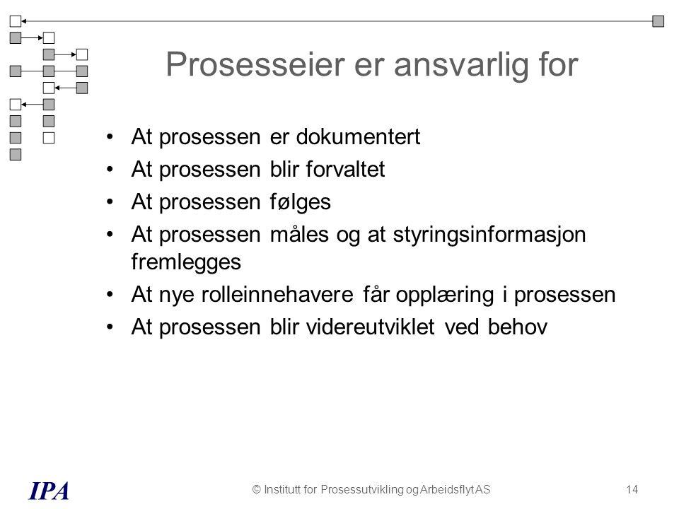 Prosesseier er ansvarlig for