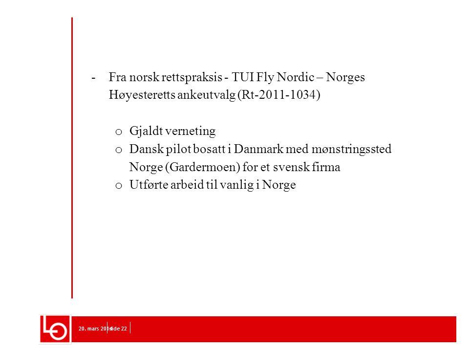 Utførte arbeid til vanlig i Norge