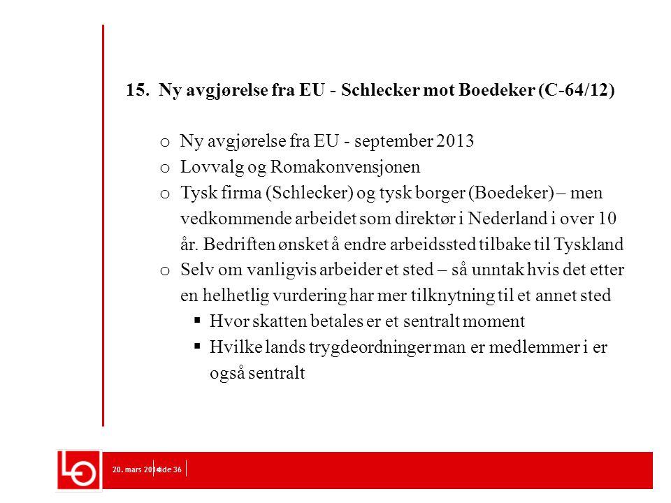 15. Ny avgjørelse fra EU - Schlecker mot Boedeker (C-64/12)