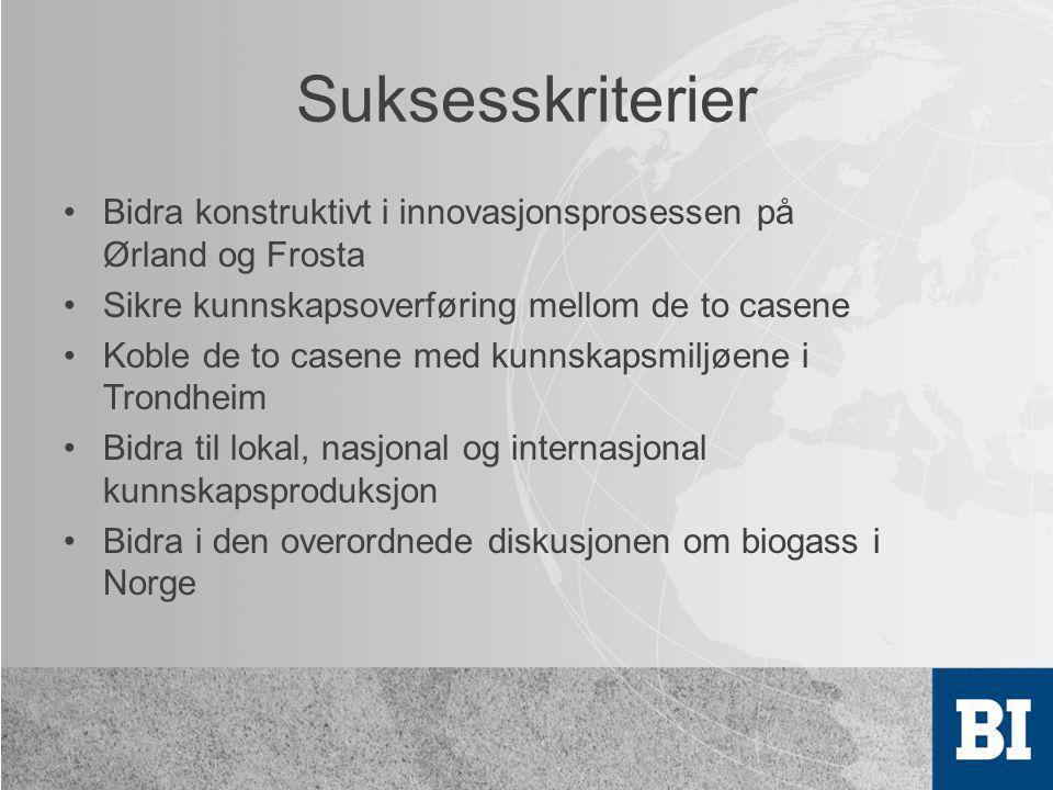 Suksesskriterier Bidra konstruktivt i innovasjonsprosessen på Ørland og Frosta. Sikre kunnskapsoverføring mellom de to casene.