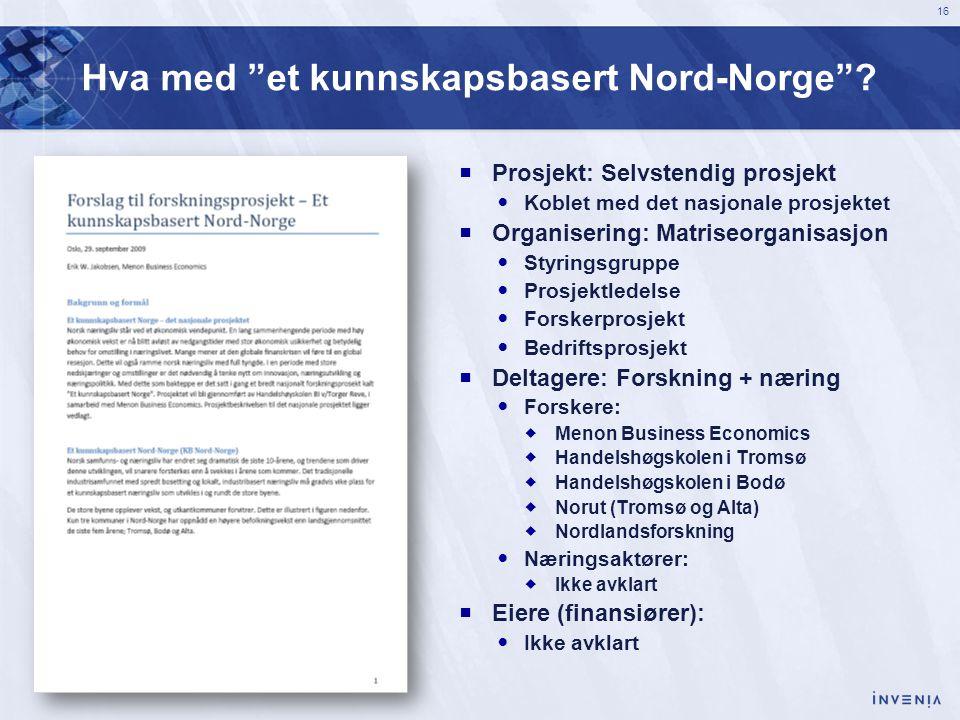 Hva med et kunnskapsbasert Nord-Norge