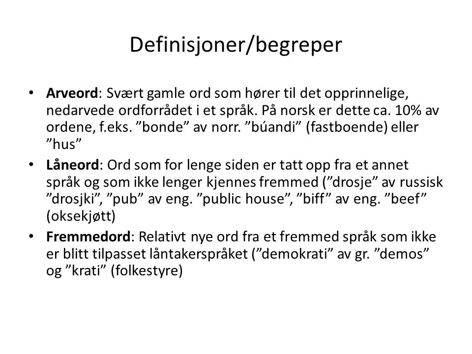 Definisjoner/begreper