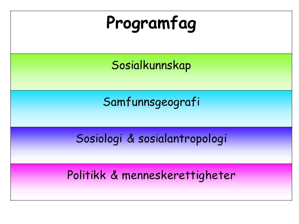 Programfag Sosialkunnskap Samfunnsgeografi