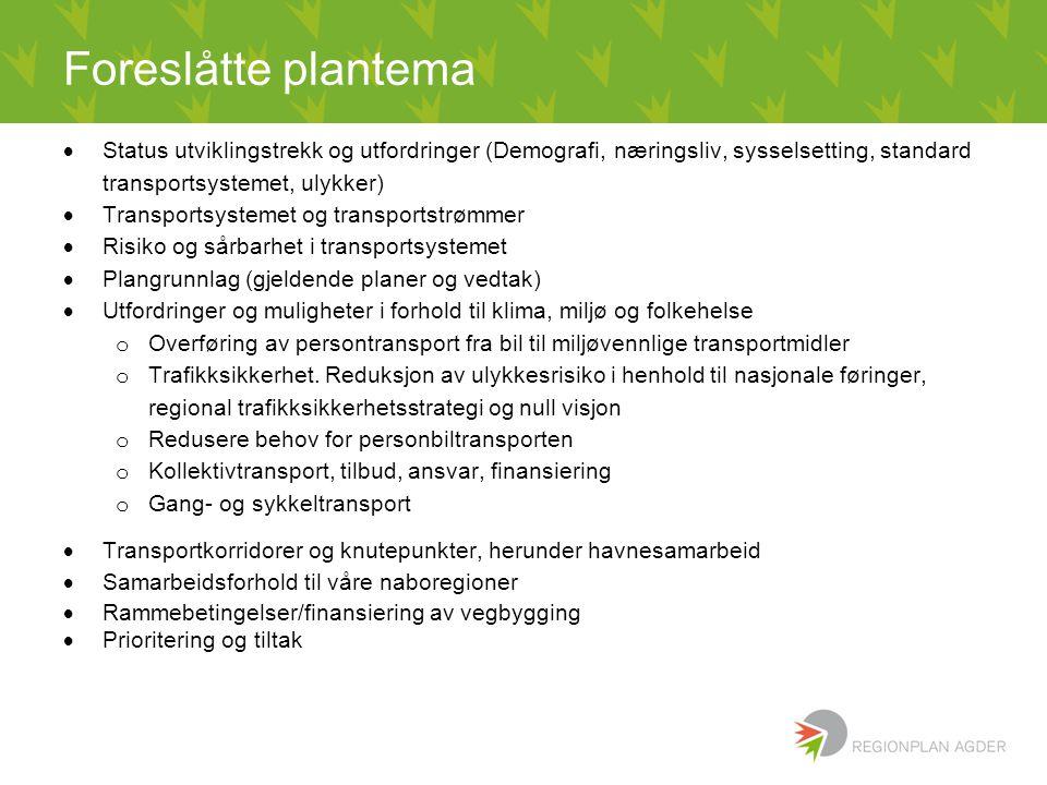 Foreslåtte plantema Status utviklingstrekk og utfordringer (Demografi, næringsliv, sysselsetting, standard transportsystemet, ulykker)
