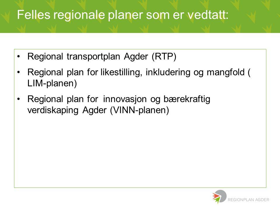 Felles regionale planer som er vedtatt: