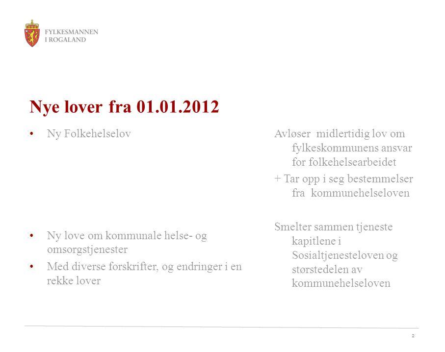 Nye lover fra 01.01.2012 Ny Folkehelselov