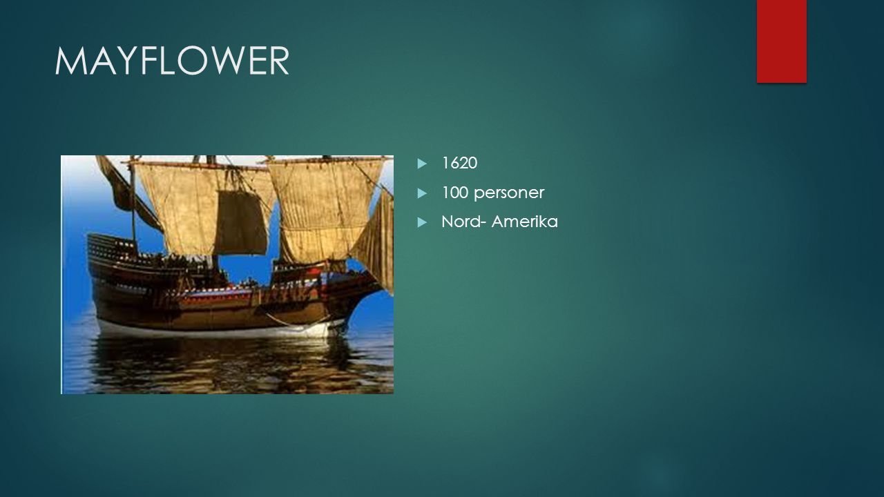 MAYFLOWER 1620 100 personer Nord- Amerika