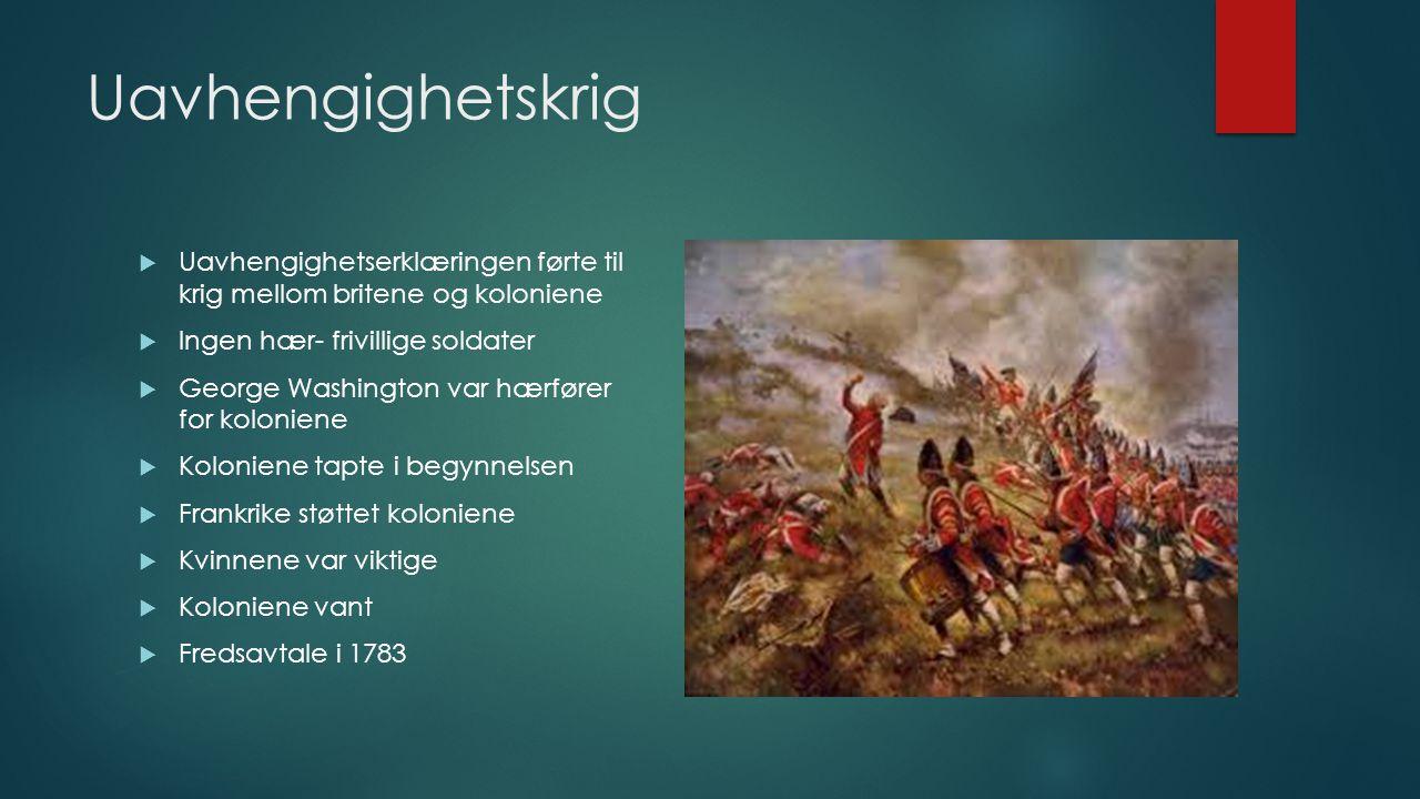 Uavhengighetskrig Uavhengighetserklæringen førte til krig mellom britene og koloniene. Ingen hær- frivillige soldater.