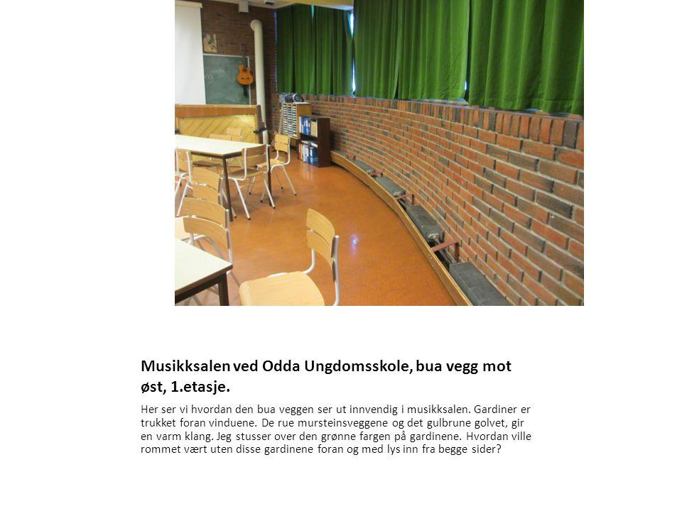 Musikksalen ved Odda Ungdomsskole, bua vegg mot øst, 1.etasje.