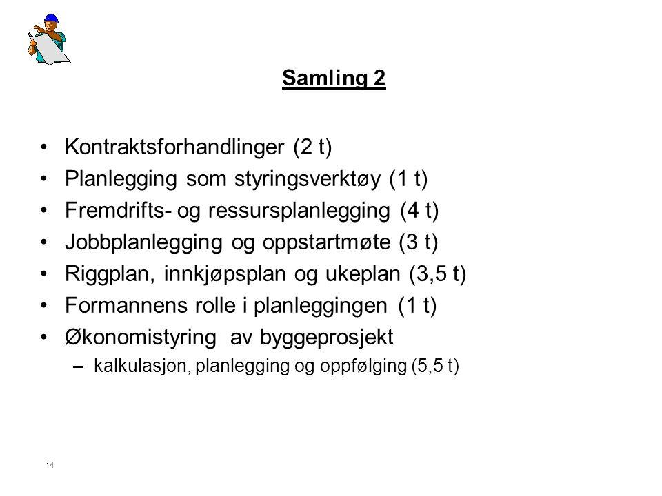 Kontraktsforhandlinger (2 t) Planlegging som styringsverktøy (1 t)