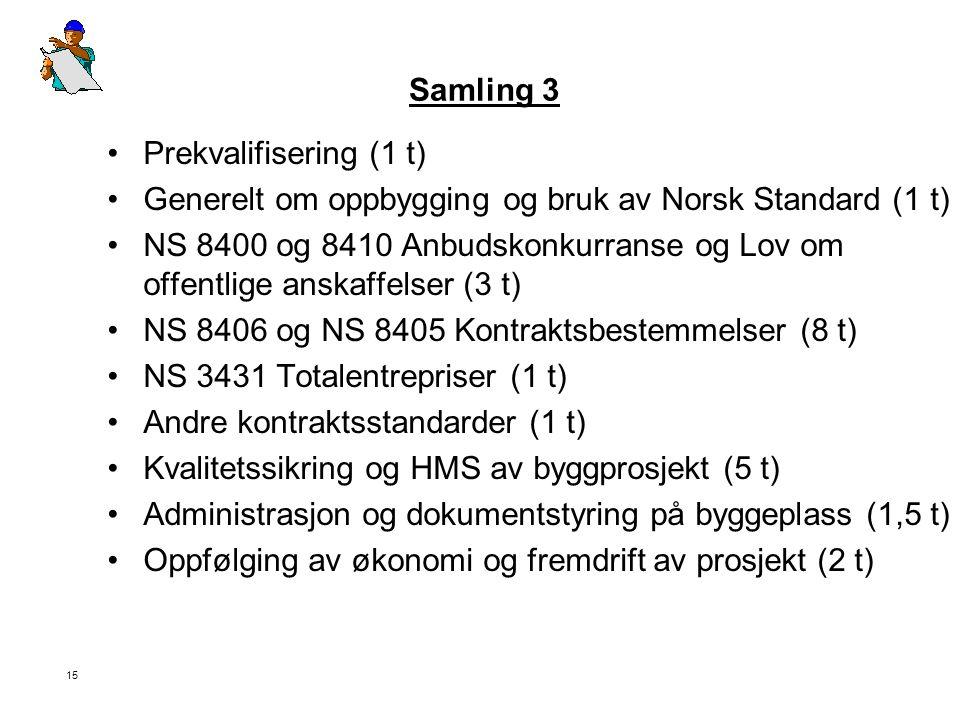 Samling 3 Prekvalifisering (1 t) Generelt om oppbygging og bruk av Norsk Standard (1 t)