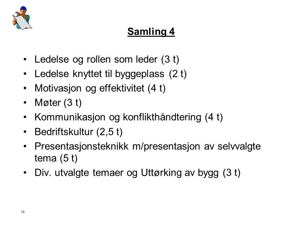 Samling 4 Ledelse og rollen som leder (3 t) Ledelse knyttet til byggeplass (2 t) Motivasjon og effektivitet (4 t)