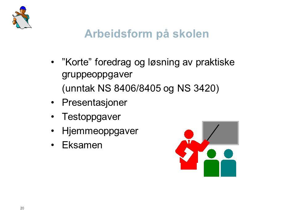 Arbeidsform på skolen Korte foredrag og løsning av praktiske gruppeoppgaver. (unntak NS 8406/8405 og NS 3420)