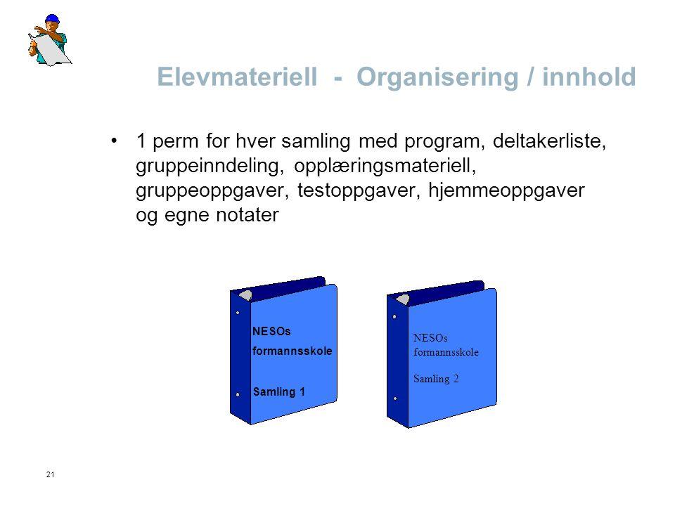 Elevmateriell - Organisering / innhold