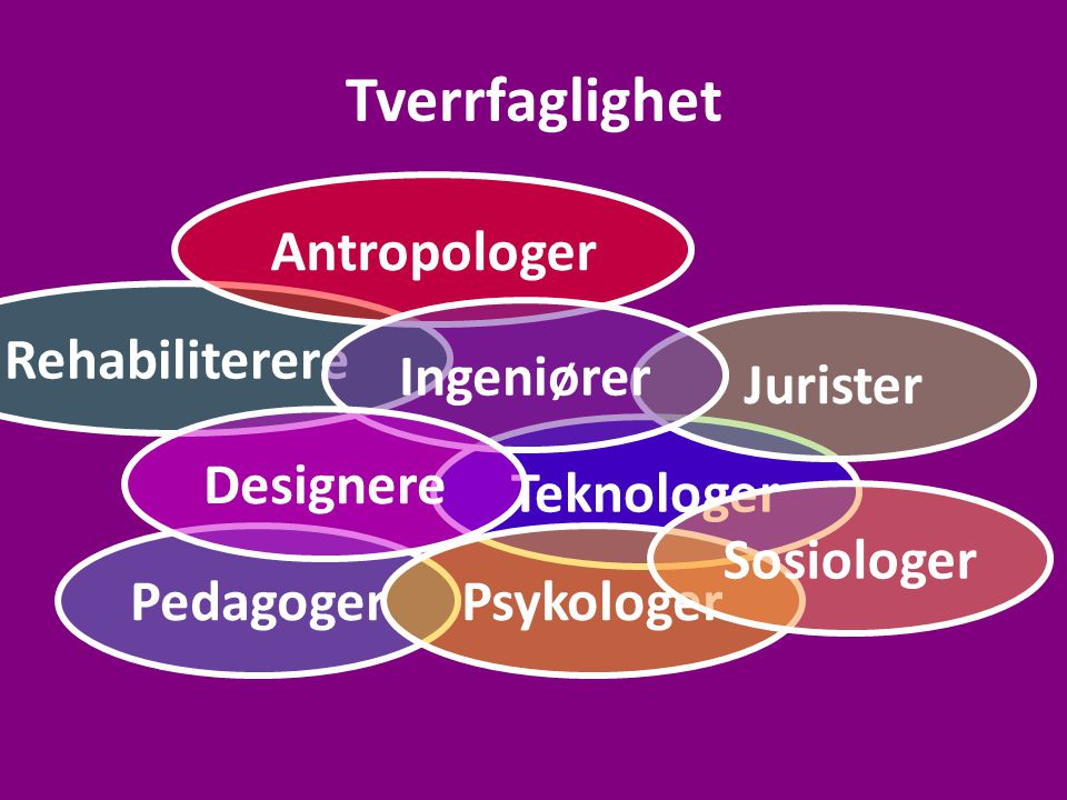 Tverrfaglighet Antropologer Rehabiliterere Ingeniører Jurister