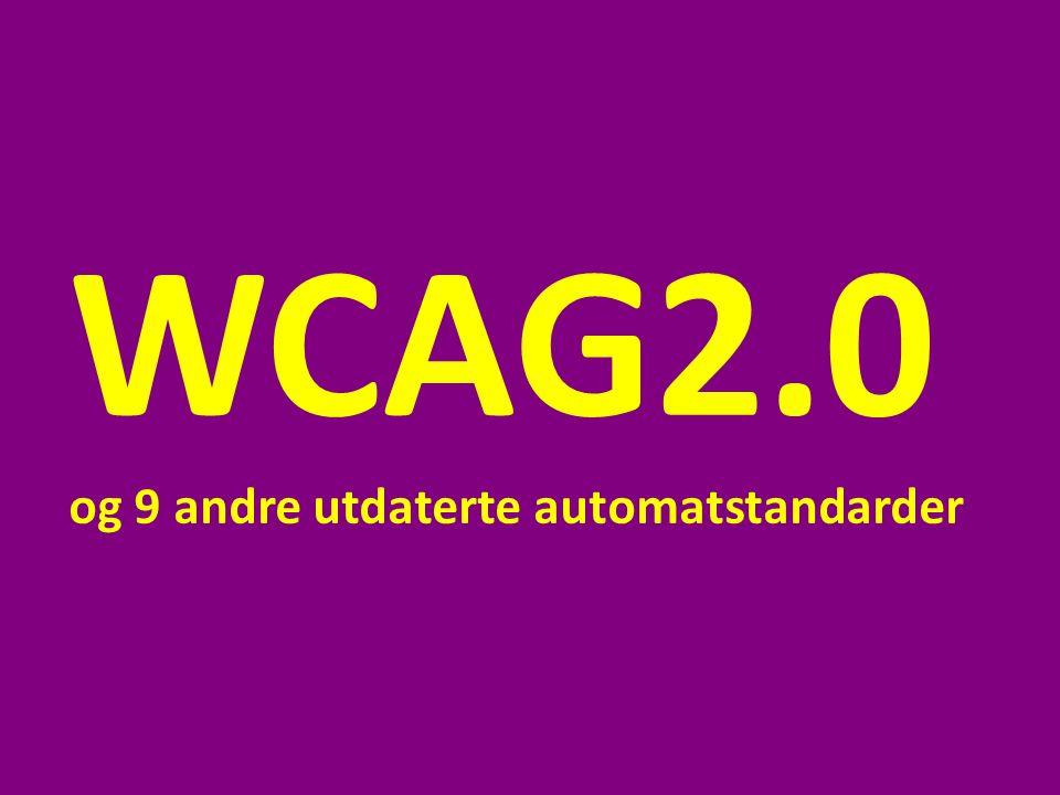 WCAG2.0 og 9 andre utdaterte automatstandarder