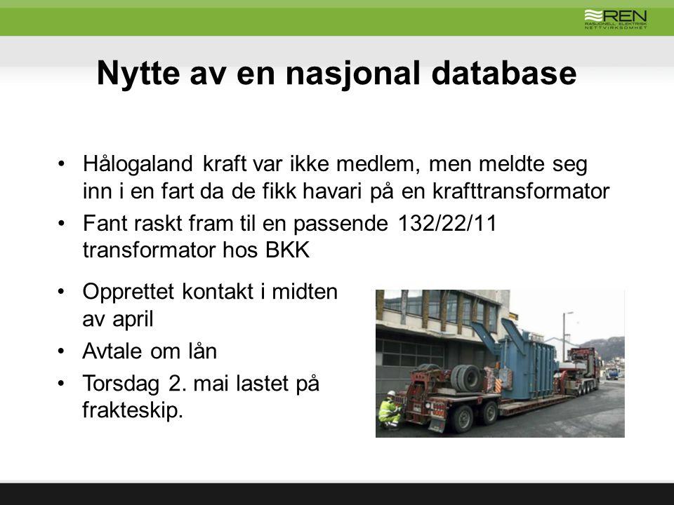 Nytte av en nasjonal database