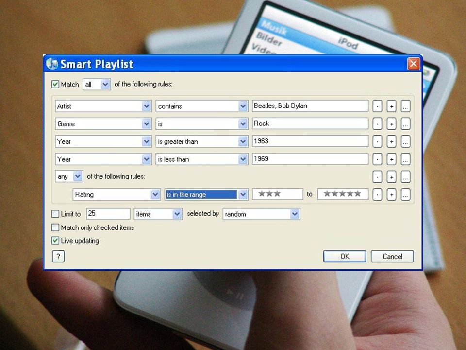 iPod or iTunes Smart playlists