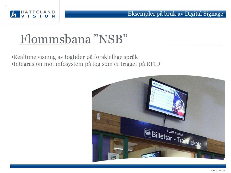 Flommsbana NSB Eksempler på bruk av Digital Signage