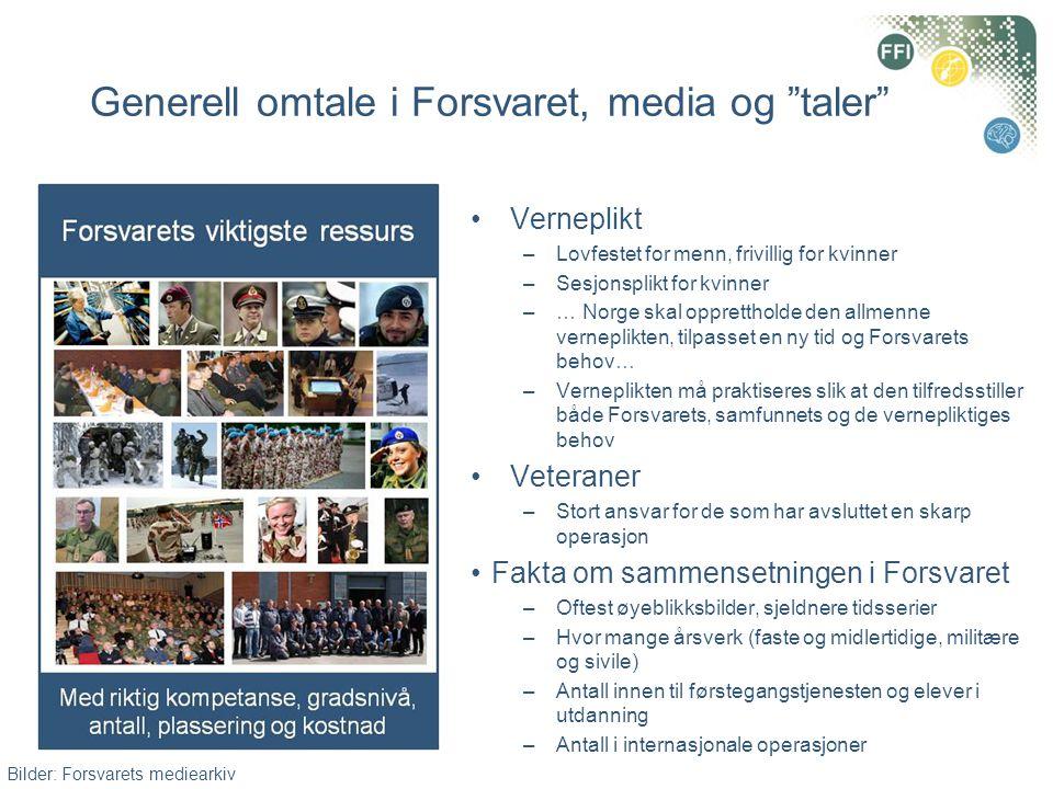 Generell omtale i Forsvaret, media og taler