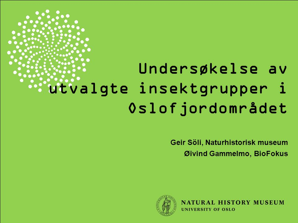 utvalgte insektgrupper i Oslofjordområdet