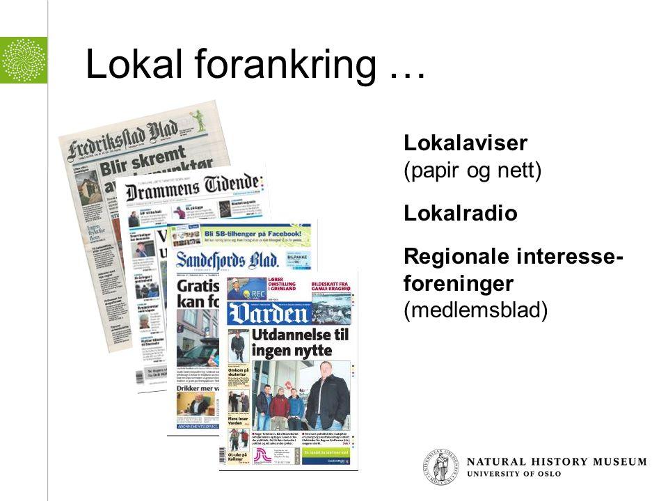 Lokal forankring … Lokalaviser (papir og nett) Lokalradio