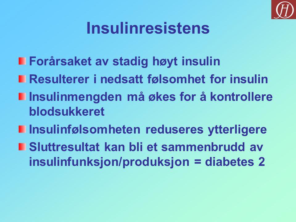 Insulinresistens Forårsaket av stadig høyt insulin