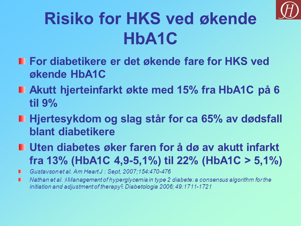 Risiko for HKS ved økende HbA1C