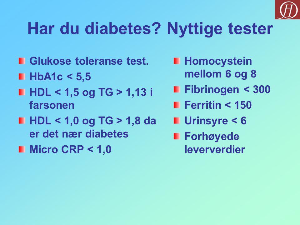Har du diabetes Nyttige tester