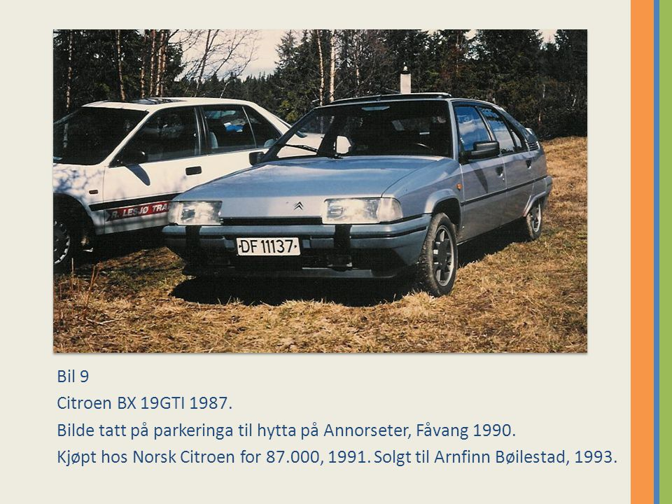Bil 9 Citroen BX 19GTI 1987. Bilde tatt på parkeringa til hytta på Annorseter, Fåvang 1990.