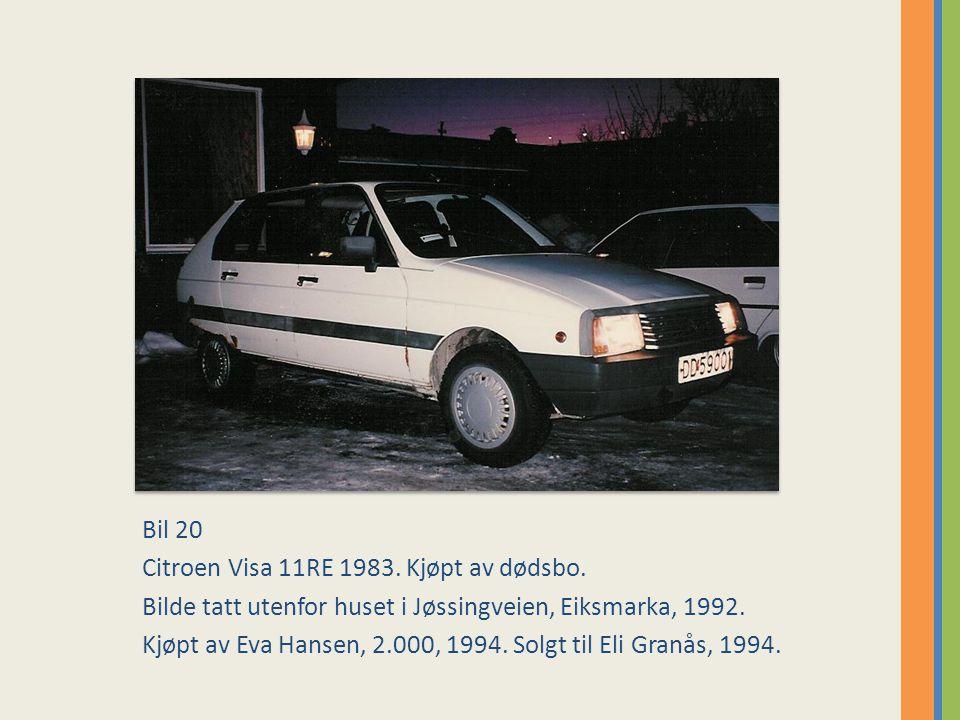 Bil 20 Citroen Visa 11RE 1983. Kjøpt av dødsbo. Bilde tatt utenfor huset i Jøssingveien, Eiksmarka, 1992.