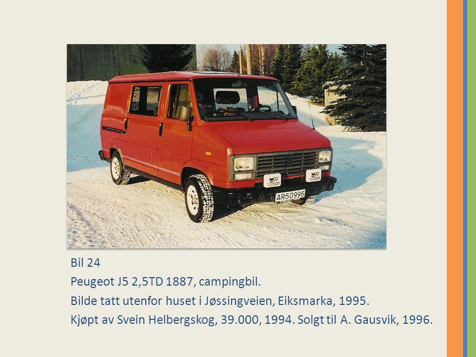 Bil 24 Peugeot J5 2,5TD 1887, campingbil. Bilde tatt utenfor huset i Jøssingveien, Eiksmarka, 1995.