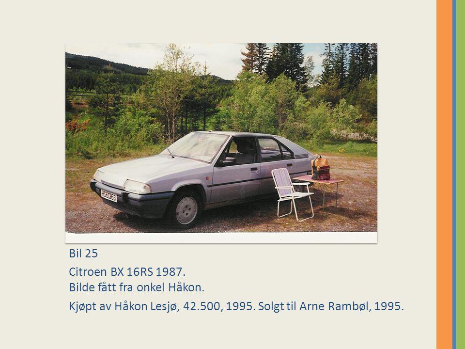 Bil 25 Citroen BX 16RS 1987. Bilde fått fra onkel Håkon.