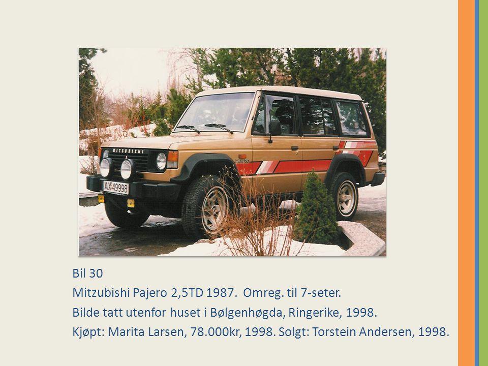 Bil 30 Mitzubishi Pajero 2,5TD 1987. Omreg. til 7-seter. Bilde tatt utenfor huset i Bølgenhøgda, Ringerike, 1998.