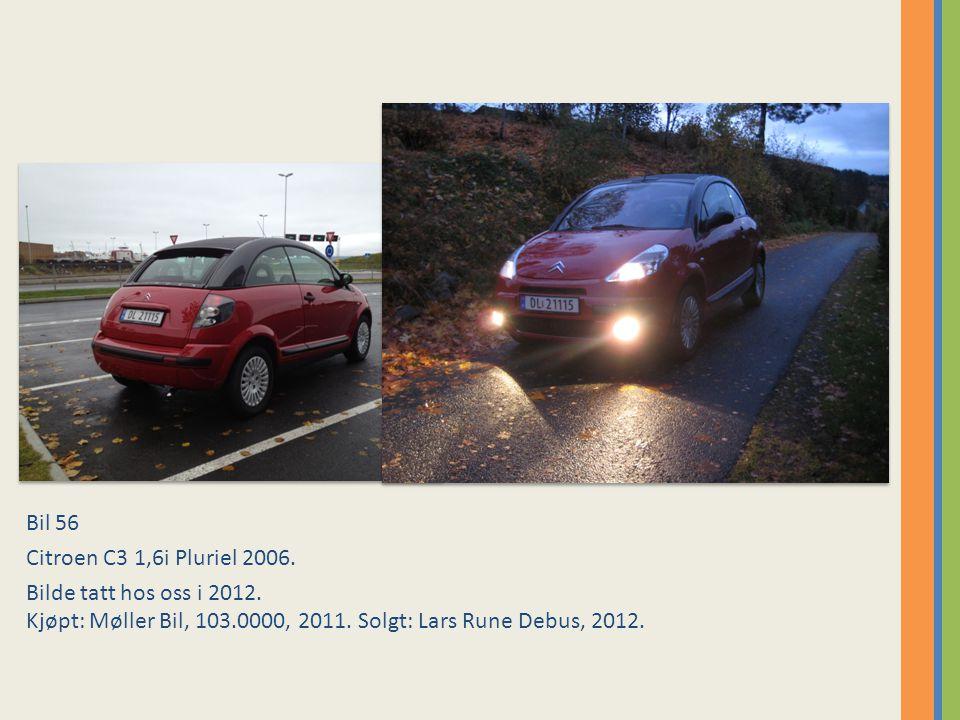 Bil 56 Citroen C3 1,6i Pluriel 2006. Bilde tatt hos oss i 2012.