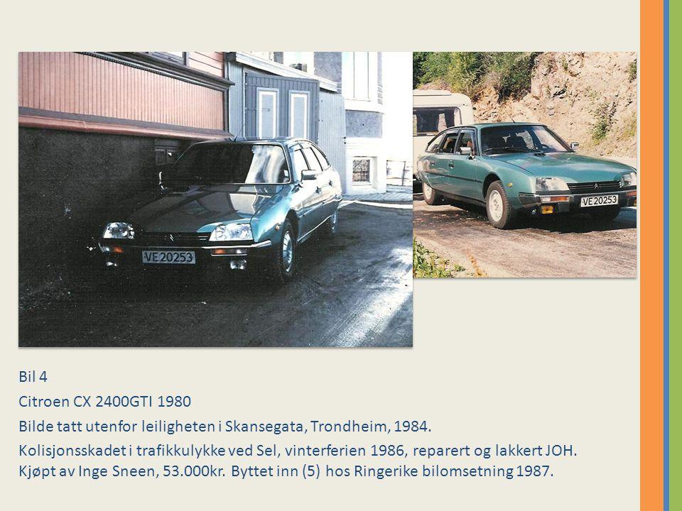 Bil 4 Citroen CX 2400GTI 1980. Bilde tatt utenfor leiligheten i Skansegata, Trondheim, 1984.