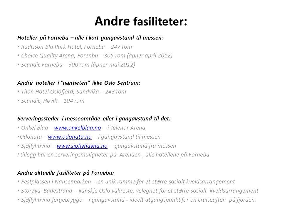Andre fasiliteter: Hoteller på Fornebu – alle i kort gangavstand til messen: Radisson Blu Park Hotel, Fornebu – 247 rom.