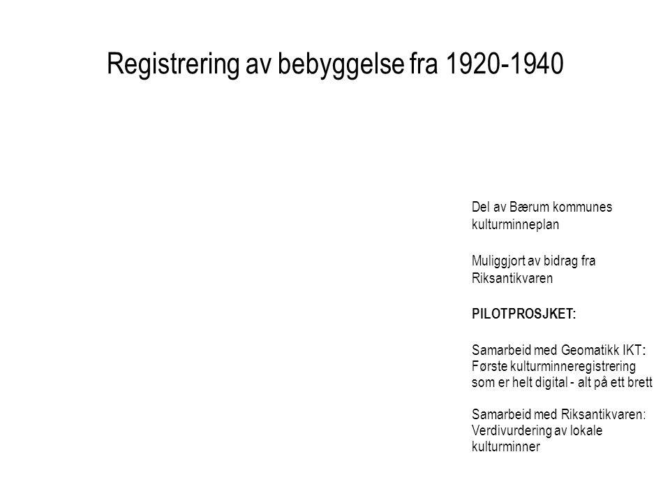Registrering av bebyggelse fra 1920-1940