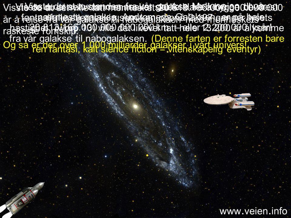 Visste du at avstanden fra vår galakse Melkeveien til vår nærmeste galakse, Andromeda Galaksen, er på hele 20.813.166.000.000.000.000 km. – eller 2.200.000 lysår!