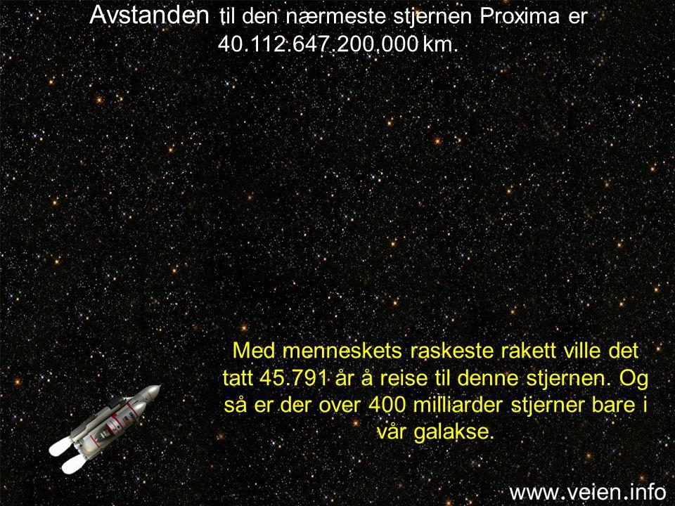Avstanden til den nærmeste stjernen Proxima er 40.112.647.200.000 km.