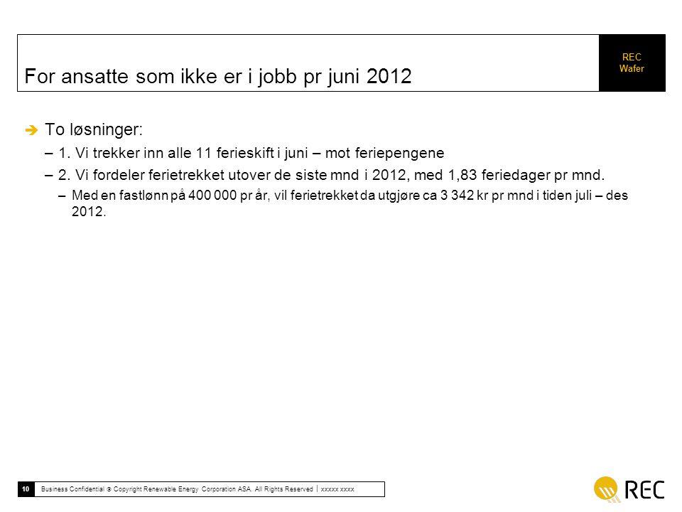 For ansatte som ikke er i jobb pr juni 2012