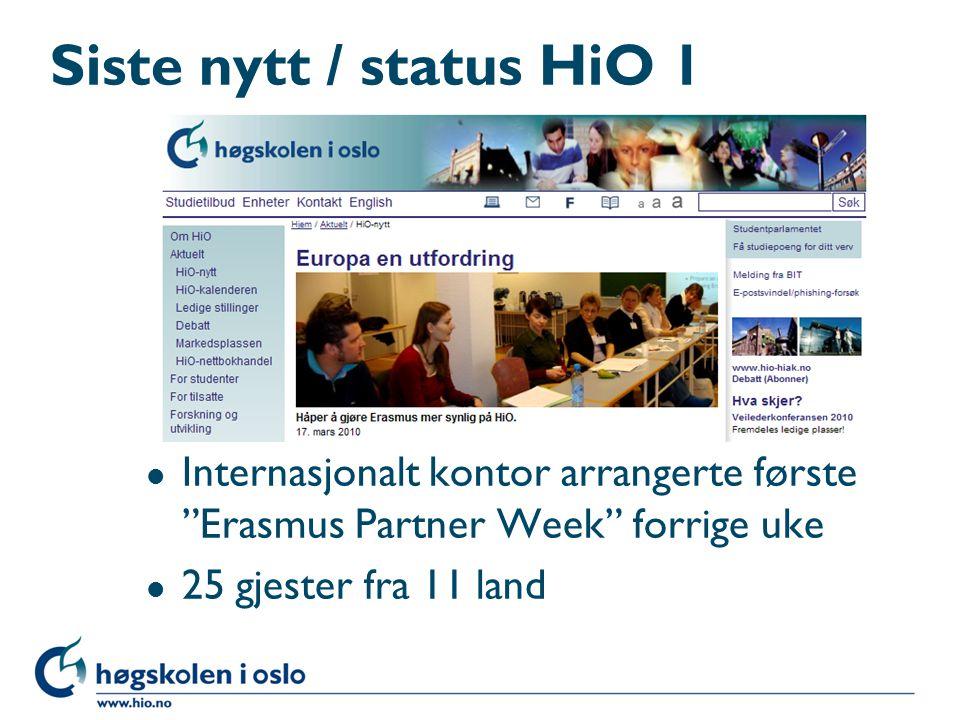 Siste nytt / status HiO 1 Internasjonalt kontor arrangerte første Erasmus Partner Week forrige uke.