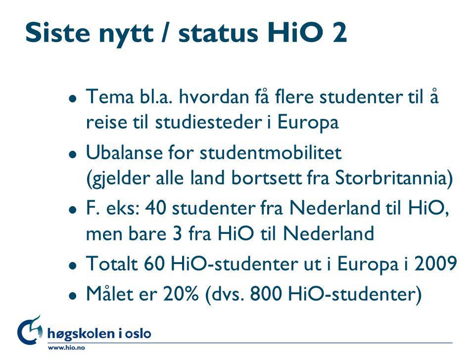 Siste nytt / status HiO 2 Tema bl.a. hvordan få flere studenter til å reise til studiesteder i Europa.