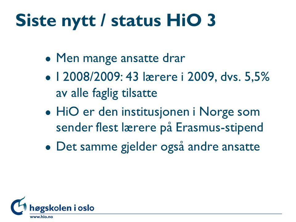 Siste nytt / status HiO 3 Men mange ansatte drar
