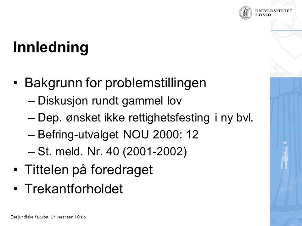 Innledning Bakgrunn for problemstillingen Tittelen på foredraget