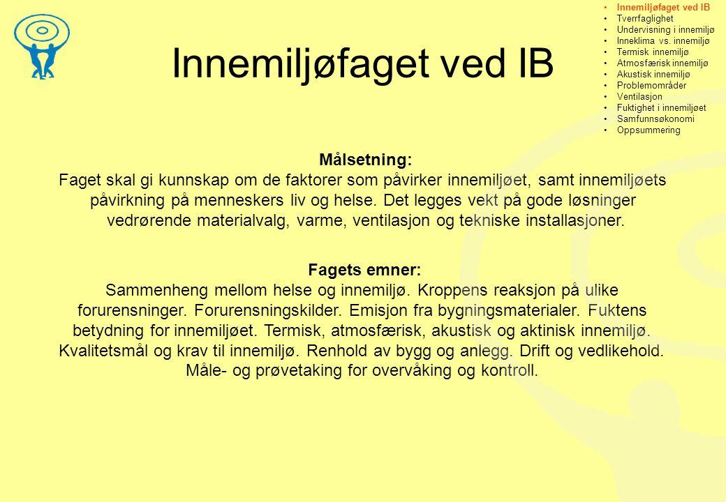 Innemiljøfaget ved IB Målsetning: